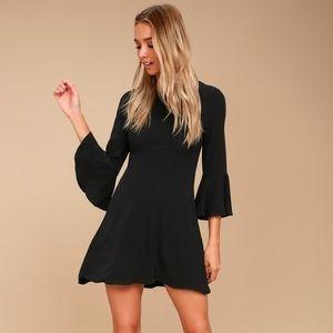 NWT lulu's black mini dress bell sleeve tie back S